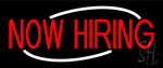 Now Hiring Red Neon Sign