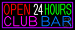 Open 24 Hours Club Bar Neon Sign
