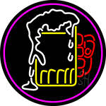 Overflowing Cold Beer Mug Oval With Pink Border Neon Sign