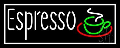 White Espresso Coffee Glass Neon Sign