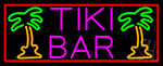 Pink Tiki Bar And Palm Tree With Red Border Neon Sign