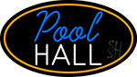 Pool Hall Oval With Orange Border Neon Sign