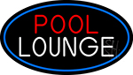 Pool Lounge Oval With Blue Border Neon Sign
