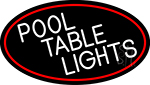 Pool Table Lights Oval With Red Border Neon Sign