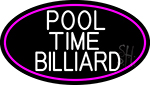 Pool Time Billiard Oval With Pink Border Neon Sign