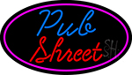 Pub Street Oval With Pink Border Neon Sign