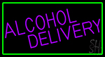 Purple Alcohol Delivery With Green Border Neon Sign