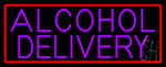 Purple Alcohol Delivery With Red Border Neon Sign