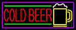 Red Cold Beer And Yellow Mug With Purple Border Neon Sign
