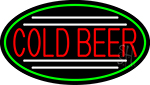 Red Cold Beer Oval With Green Border Neon Sign