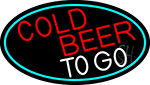 Red Cold Beer To Go Oval With Turquoise Border Neon Sign