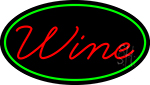 Red Cursive Wine Oval With Green Border Neon Sign