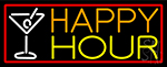 Red Happy Hour And Wine Glass With Red Border Neon Sign