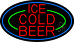 Red Ice Cold Beer With Blue Border Neon Sign