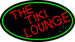 Red The Tiki Lounge Oval With Red Border Neon Sign
