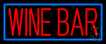 Red Wine Bar With Blue Border LED Neon Sign