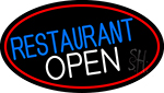 Restaurant Open Oval With Red Border Neon Sign