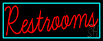 Restrooms With Turquoise Border LED Neon Sign