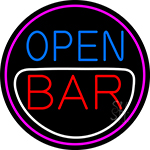 Round Bar Open Neon Sign