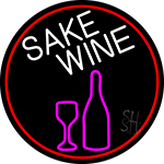 Sake Wine Bottle Glass Oval With Red Border Neon Sign
