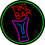 Sculpture Tiki Bar Oval With Green Border Neon Sign