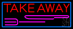 Take Away And Fork With Blue Border Neon Sign