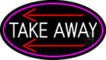 Take Out And Arrow Oval With Pink Border Neon Sign