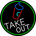 Take Out And Wine Glass Oval With Green Border Neon Sign