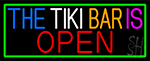 The Tiki Bar Is Open With Green Border Neon Sign