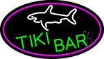 Tiki Bar And Shark Oval With Pink Border Neon Sign