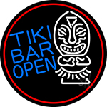 Tiki Bar Bamboo Hut Oval With Red Border Neon Sign