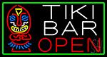Tiki Bar Bamboo Hut With Green Border Neon Sign