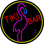 Tiki Bar Flamingo Oval With Yellow Border Neon Sign