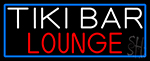 Tiki Bar Lounge With Blue Border Neon Sign