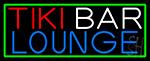 Tiki Bar Lounge With Green Border Neon Sign
