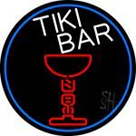 Tiki Bar Martini Glass Oval With Blue Border Neon Sign