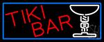 Tiki Bar Martini Glass With Blue Border Neon Sign