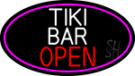 Tiki Bar Open Oval With Pink Border Neon Sign