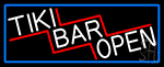 Tiki Bar Open With Blue Border Neon Sign