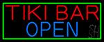 Tiki Bar Open With Green Border Neon Sign