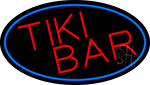 Tiki Bar Oval With Blue Border Neon Sign