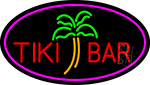 Tiki Bar Palm Tree Oval With Pink Border Neon Sign