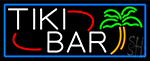 Tiki Bar Palm Tree With Blue Border Neon Sign