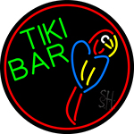 Tiki Bar Parrot Oval With Red Border Neon Sign