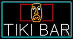Tiki Bar Sculpture With Turquoise Border Neon Sign