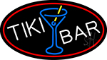 Tiki Bar Wine Glass Oval With Red Border Neon Sign