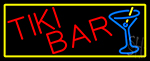 Tiki Bar Wine Glass With Yellow Border Neon Sign