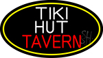 Tiki Hut Tavern Oval With Yellow Border Neon Sign