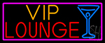 Vip Lounge And Martini Glass With Pink Border LED Neon Sign