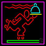 We Deliver Man With Pink Border Neon Sign